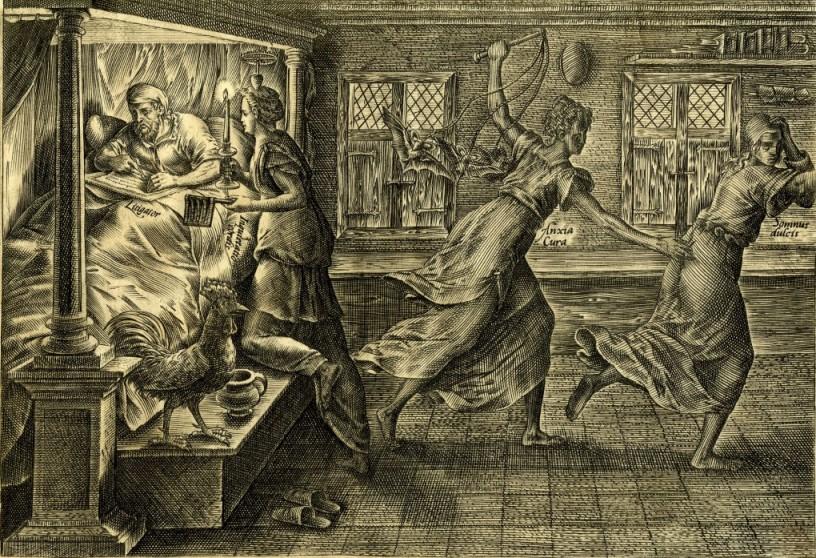 Raamatullinen viisauskirjallisuus opetti, että unettomuus aiheutuu ahdistuksesta ja ahdistus puolestaan syntyy siitä, että materiaaliset asiat asetetaan liian tärkeään asemaan. Tätä kuvaa Hendrik Golziuksen kaiverrustyö vuodelta 1597, jossa taloudellisten etujen puolesta oikeutta käyvä asianajaja (Litigator) pohtii unettomana sängyssä tilannettaan kirjoittaen valitusta oikeudelle. Hänen untaan häiritsevät kaksi myyttistä hahmoa